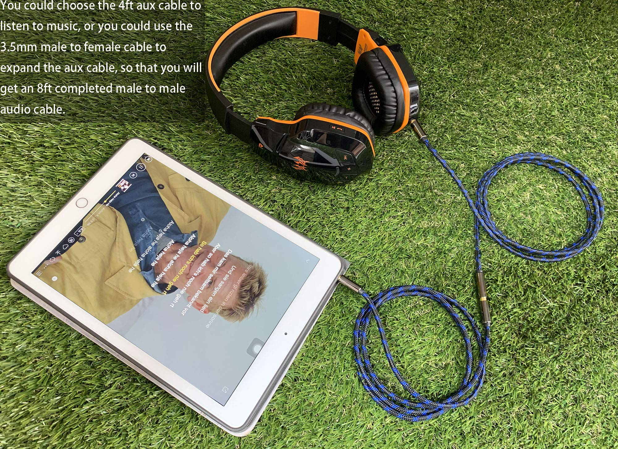 Home Stereos /& More iPhones iPods Car iPads AUX Cable 12 Feet,Ruaeoda Foil /& Braid Double Shielde 3.5mm Auxiliary Stereo Audio Cable Nylon Braided Male to Male Long AUX Cord Compatible Headphones