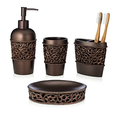 EssentraHome 4-Piece Bronze Bathroom Accessory Set, Complete Set Includes: Toothbrush Holder, Lotion Dispenser, Tumbler and Soap Dish