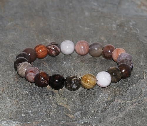 Grade AA. healing bracelet 8mm handmade Perseverance Transformation yoga meditation bracelet Petrified wood matte bracelet
