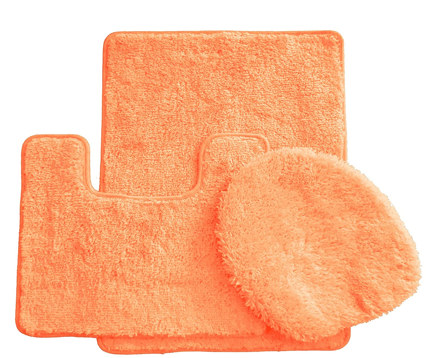 3 piece luxury acrylic bath rugs set large 18 x 30 contour for Peach bathroom set