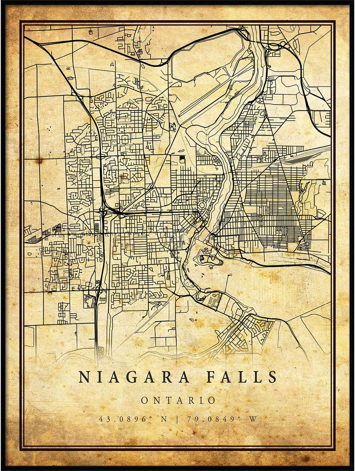 Niagara Falls map Vintage Style Poster Print | Old City Artwork Prints | Antique Style Home Decor | Ontario Wall Art Gift | map Posters 11x14