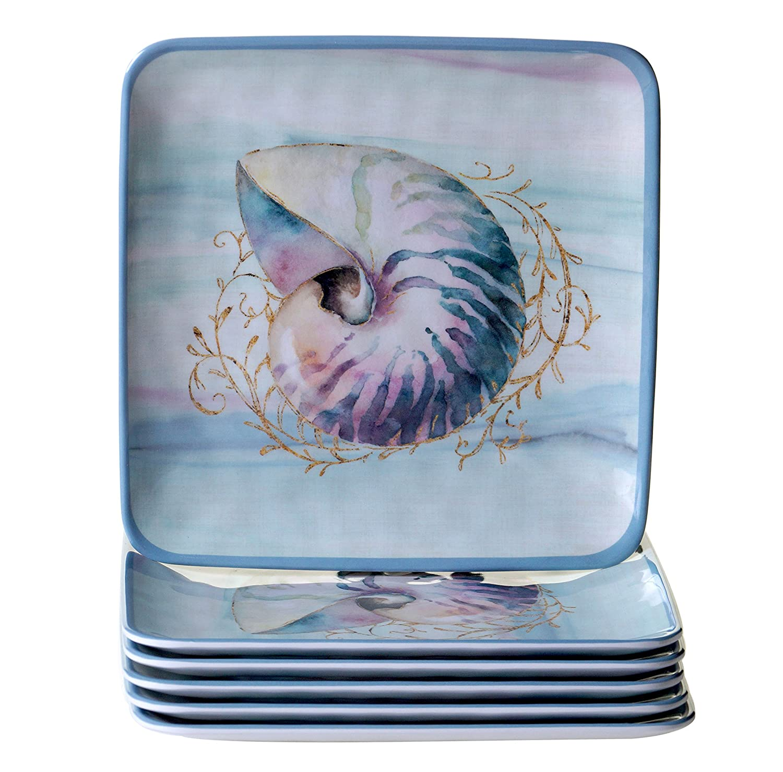 Certified International Ocean Dream 8.5 Salad/Dessert Plate (Set of 6), Multicolor 20346Set/6
