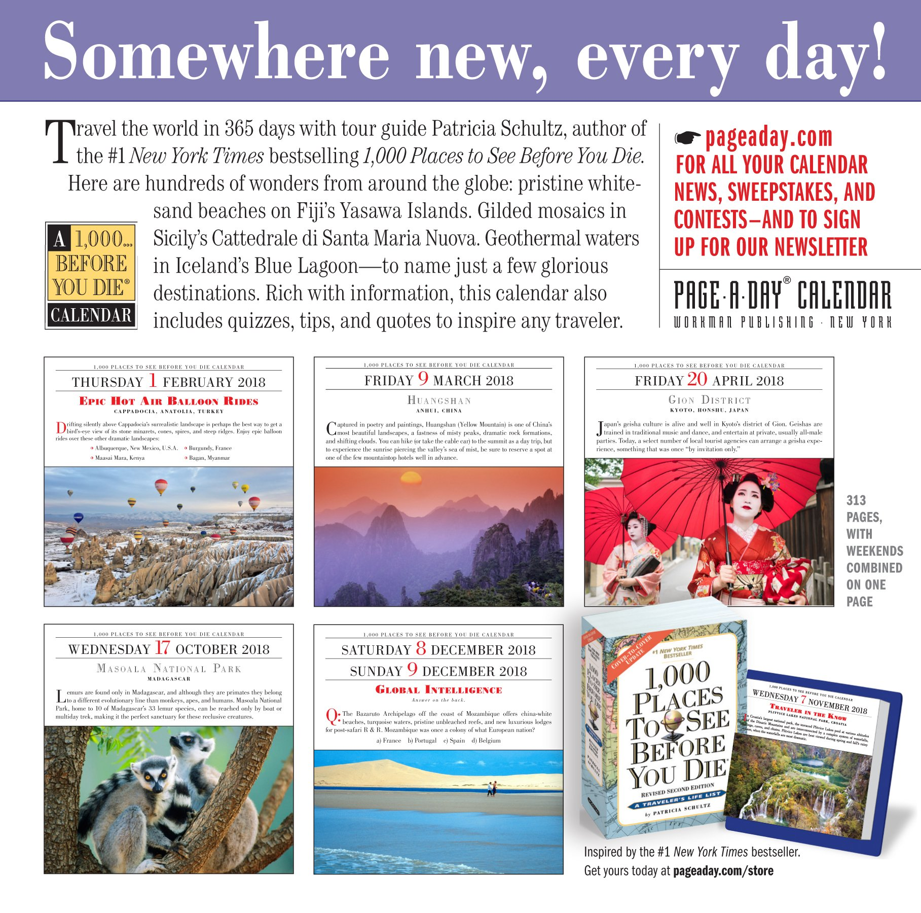 1, 000 Places to See Before You Die Page-A-Day Calendar 2018: Patricia  Schultz: 9781523500475: Amazon.com: Books