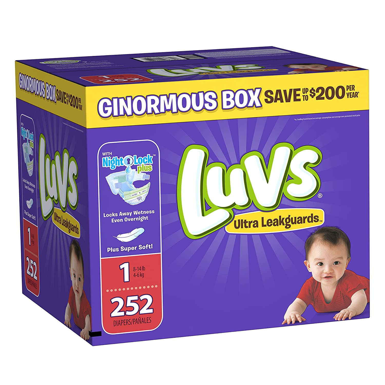 Luvs Ultra Leakguards Disposable Baby Diapers ONE MONTH SUPPLY 228 Count Size 2