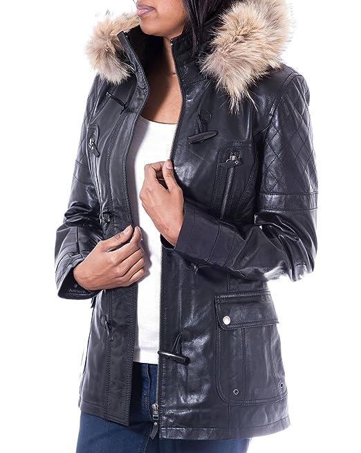 Para mujer abrigo tres cuartos de cuero Negro. Capucha de piel. Cuerno botones de alternancia: Amazon.es: Ropa y accesorios