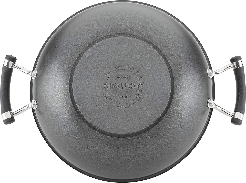 Circulon 89313 Acclaim Hard Anodized Nonstick Wok//Stir Fry Pan//Wok Pan with Lid 12.5 Inch Black