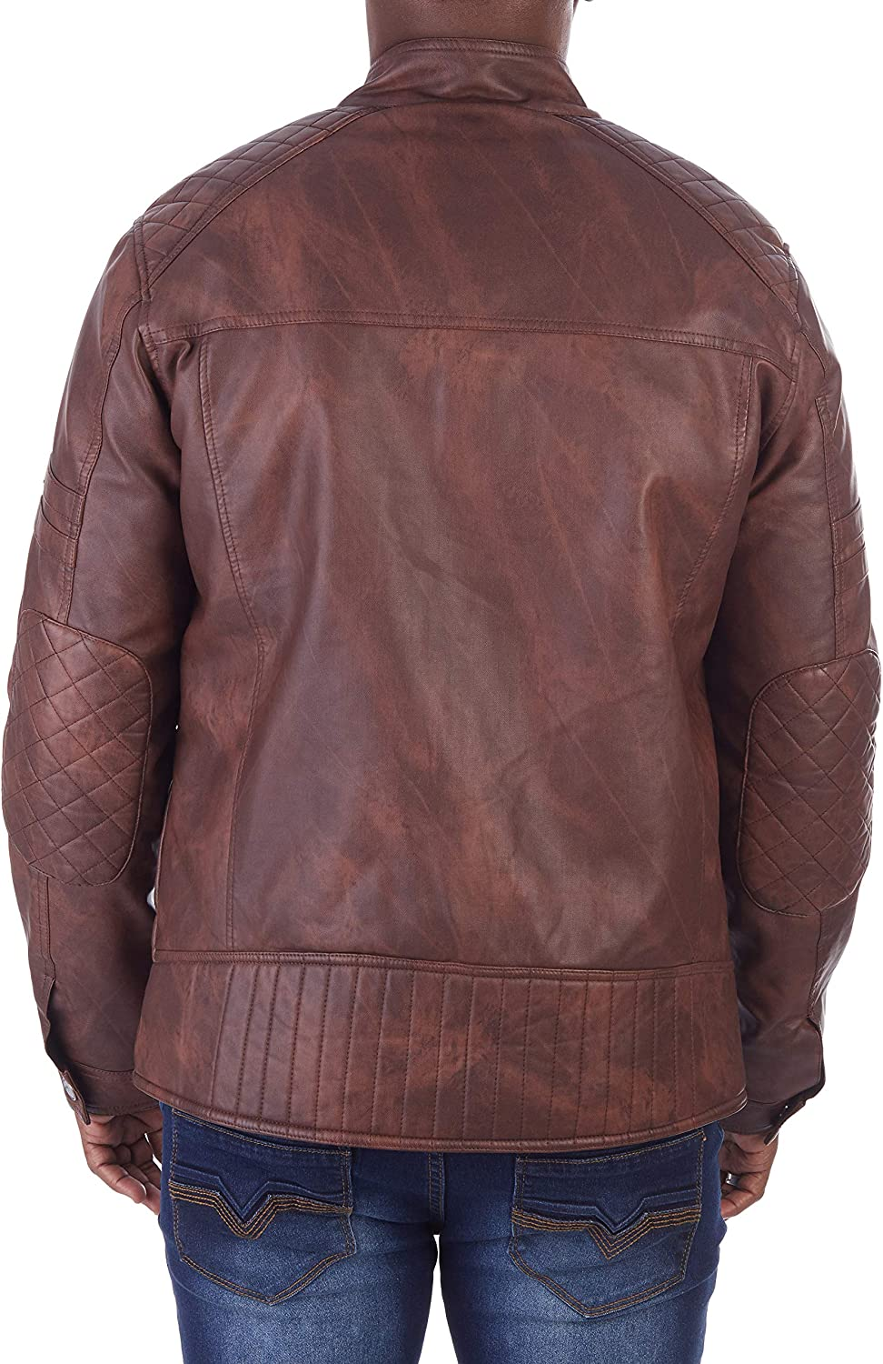 X RAY Mens PU Leather Topstitched ed Motorcycle Jacket Contrast Trim Faux Leather Jacket for Men