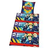 Herding 467618050 Bettwäsche Feuerwehrmann Sam, Kopfkissenbezug 80 x 80 cm mit Bettbezug 135 x 200 cm, 100% Baumwolle, Flanell / Biber
