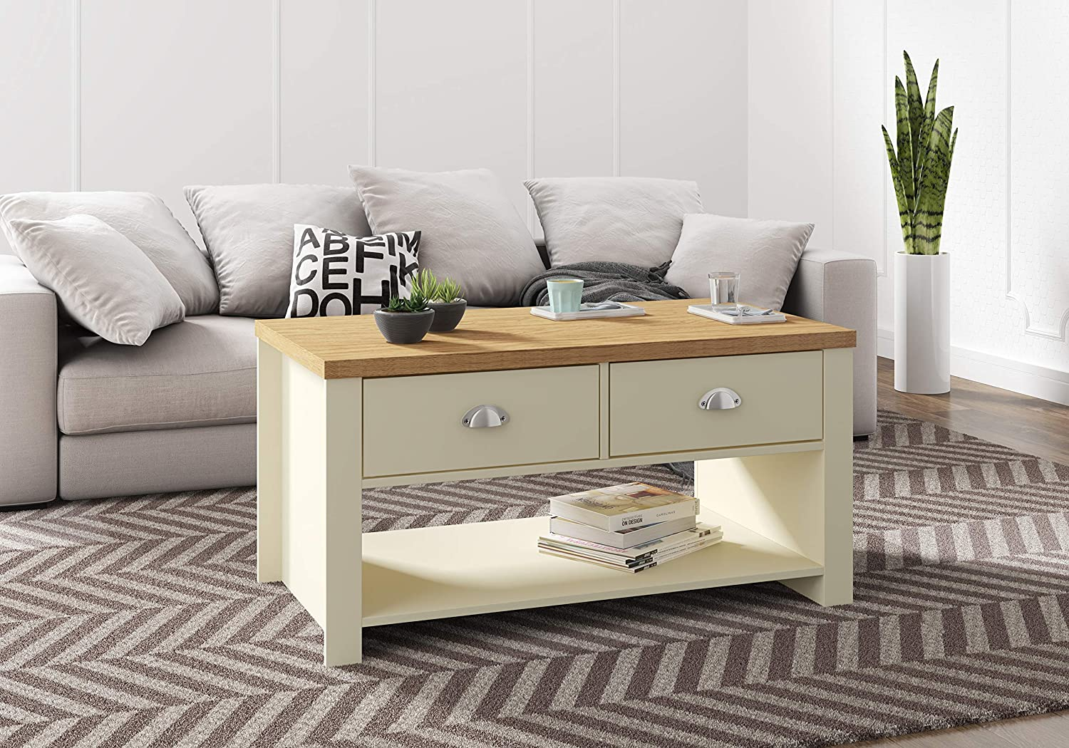 - Birlea, Winchester 2 Drawer Coffee Table, Cream & Oak Effect