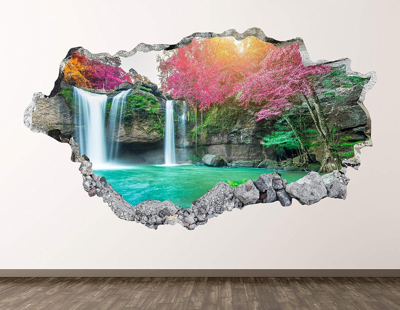 Beautiful Waterfalls Wall Decal Art Decor 3D Smashed Nature Sticker Poster Kids Room Mural Custom Gift BL1497 (30