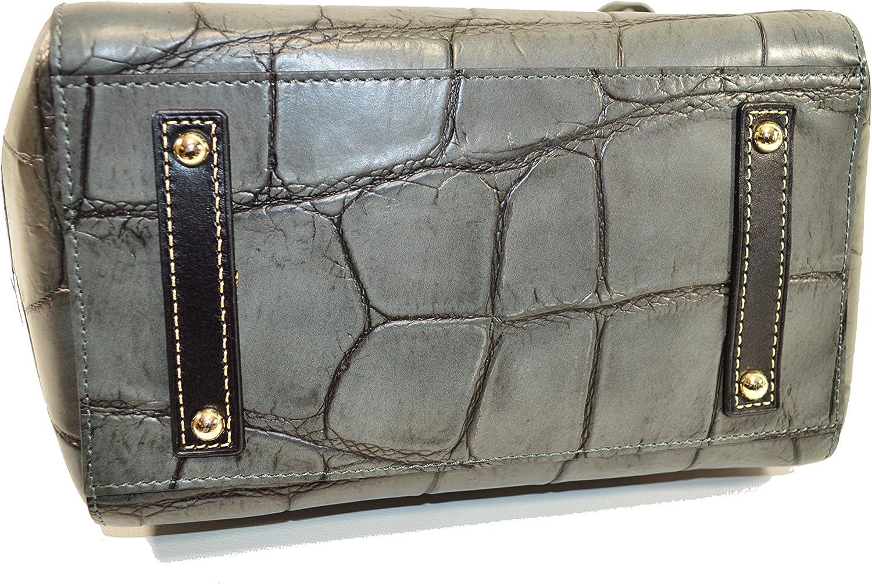 Dooney /& Bourke Maxine Tote Croco Emb Leather Shldr Bag DQ0972 Smoke
