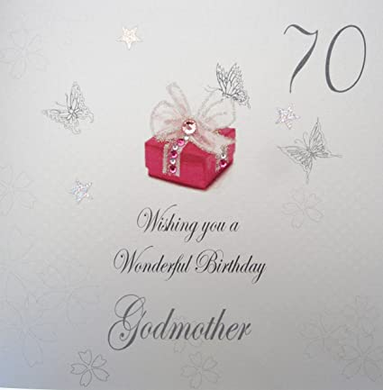 WHITE COTTON CARDS 70 Wishing You A Wonderful Handmade Birthday Card Godmother 70th Amazoncouk Kitchen Home