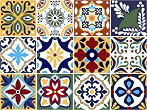 BRIKETO Talavera Decorative Tile Stickers Set 12 Units 6x6 inches. Peel & Stick Vinyl Tiles. Backsplash. Home Decor. Furniture Decor. Staircase Decor. 3 sqf per Package.