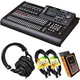 Tascam DP-32SD 32-Track Digital Portastudio Multi-Track Audio Recorder with Pro Headphone and Pair of EMB XLR Cables and Grav