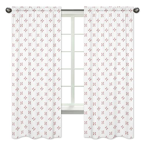 Sweet Jojo Designs Red and White Window Treatment Panels Curtain