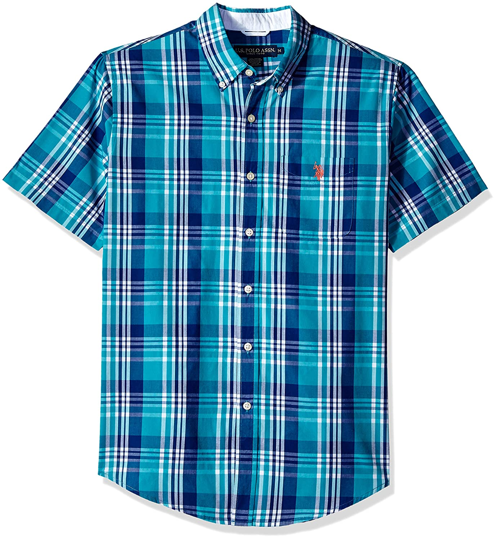 U.S Mens Short Sleeve Classic Fit Plaid Shirt Polo Assn