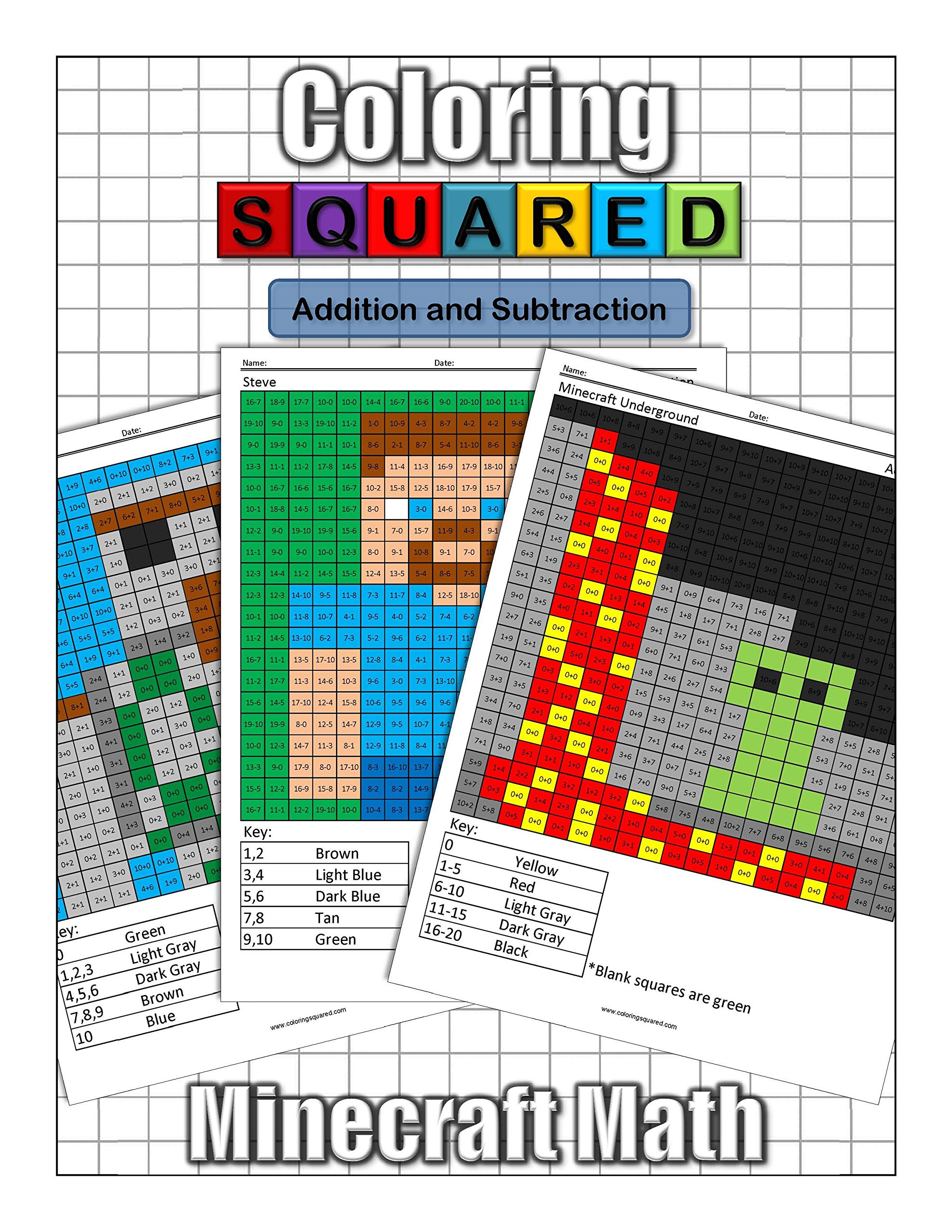 Coloring Squareds Minecraft Addition And Subtraction Cameron Krantzman 9781939668165 Amazon Books