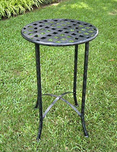 International Caravan 16 in. Iron Patio Side Table Antique Black