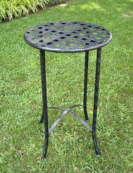 Iron Patio Side Table (Antique Black) - Amazon.com : 16 In. Iron Patio Side Table (Antique Black) : Patio