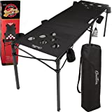 Portable Beer Pong Table- Collapsible Regulation Size Beirut Table w Cup Holders, 6 Balls, Stakes and Travel Bag