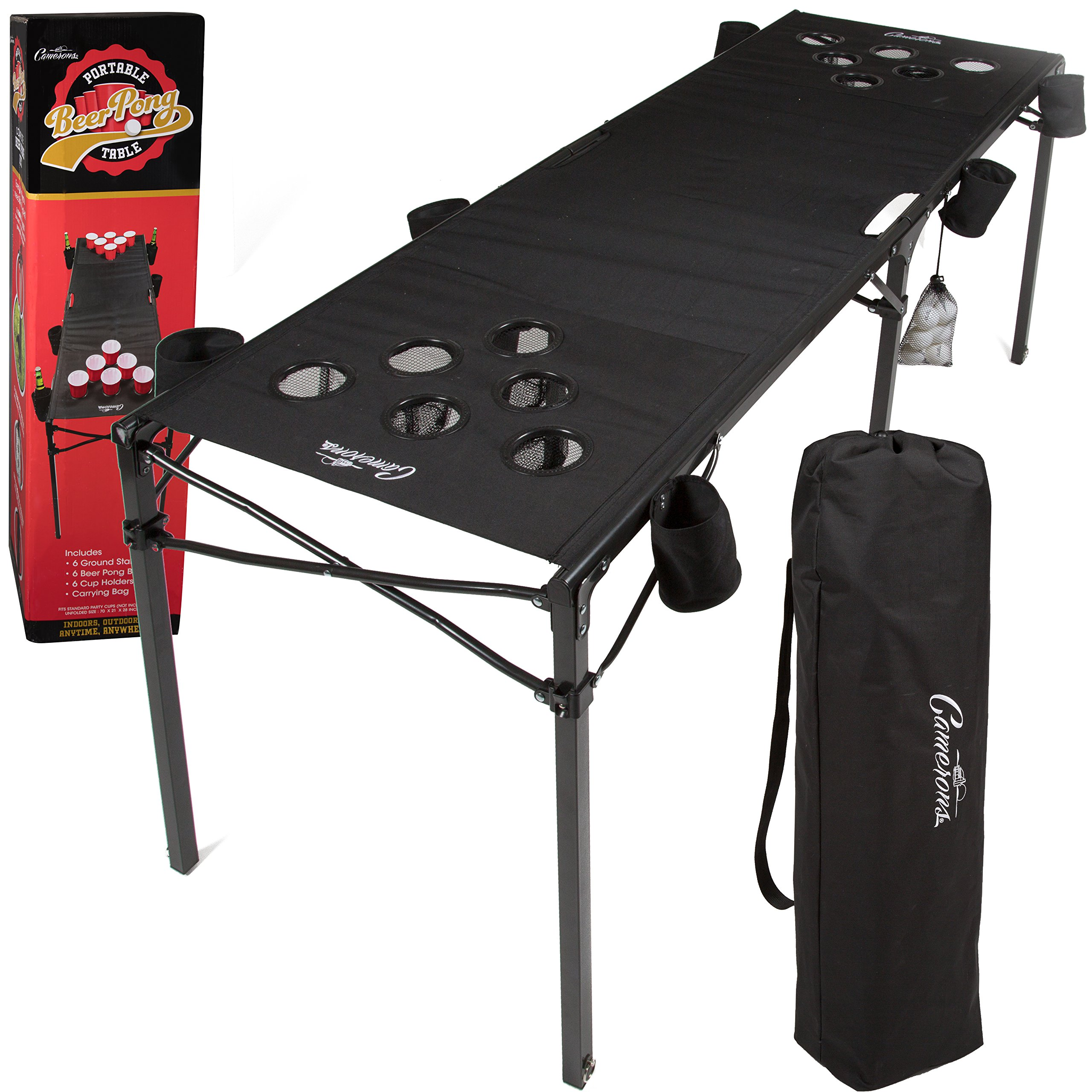 Camerons Portable Beer Pong Table- Collapsible 6 FT Beach Size Beirut Table w Cup Holders, 6 Balls, Stakes and Travel Bag by Camerons