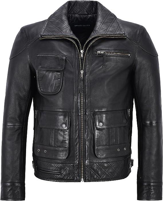 Bestzo Mens Fashion Padded Shoulders Biker Jacket Brown