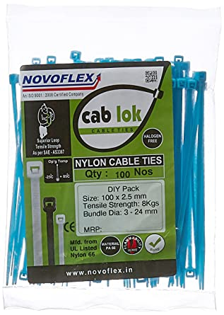 360faf0d3766 Novoflex 100mm Cable Ties, Blue, Pack of 100: Amazon.in: Industrial &  Scientific