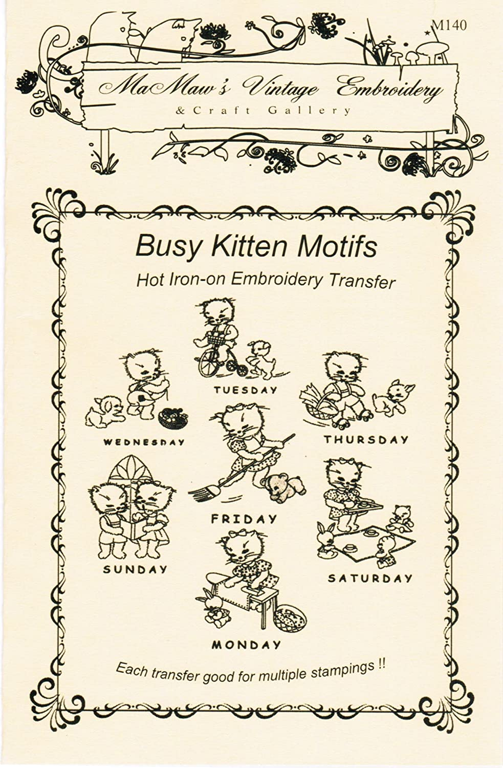 Busy Kitten Motifs for Days-of-the-Week Hot Iron Embroidery Transfers