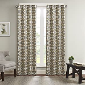 Madison Park MP40-2258 Ashlin Diamond Printed Window Curtain 50x63 Taupe, 50 x 63