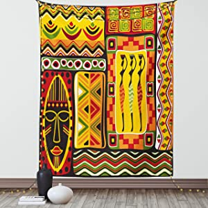 Lunarable African Tapestry, Elements Historical Original Striped and Rectangle Shapes Design, Fabric Wall Hanging Decor for Bedroom Living Room Dorm, 30