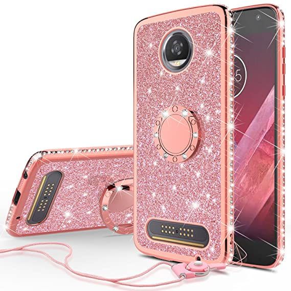 huge discount 90b84 6013a SOGA Cover Compatible for Moto Z2 Play Case, Rhinestones Cute Girl Shinny  Sparkling Glitter Bling Diamond Slim TPU Bumper Cover - Rose Gold