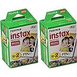 Fujifilm Instax Mini Twin Pack Instant Film -2 pack (40 sheets) for Fujifilm Instax Mini 7s, Mini 8, Mini 25, Mini 50S, Mini 90, SP-1 & SP-2 Smartphone Printers + HeroFiber Ultra Gentle Cleaning Cloth
