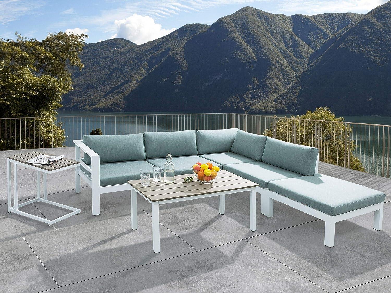 Beliani Conjunto de jardín en Aluminio Blanco/Verde Messina: Beliani: Amazon.es: Hogar