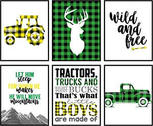 Green Yellow Black Buffalo Plaid Deer Tractor Truck Themed Children Wall Decor (Set of Six) Stag Hunting