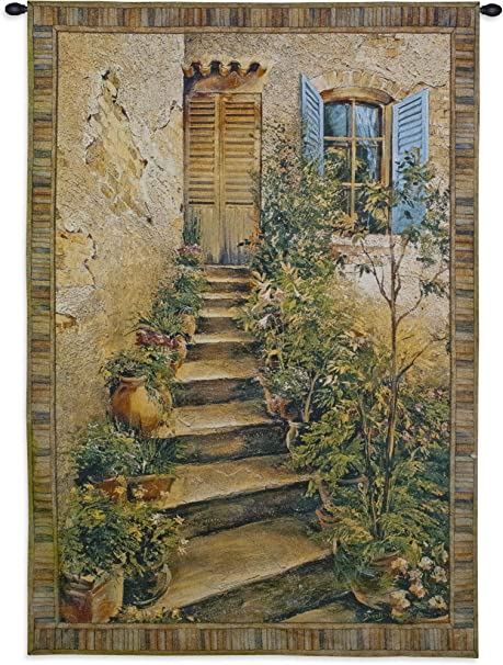 Tuscan Villa Ii By Roger Duvall Woven Tapestry Wall Art Hanging Rustic Italian Village Steps 100 Cotton Usa Size 34x26 Home Kitchen
