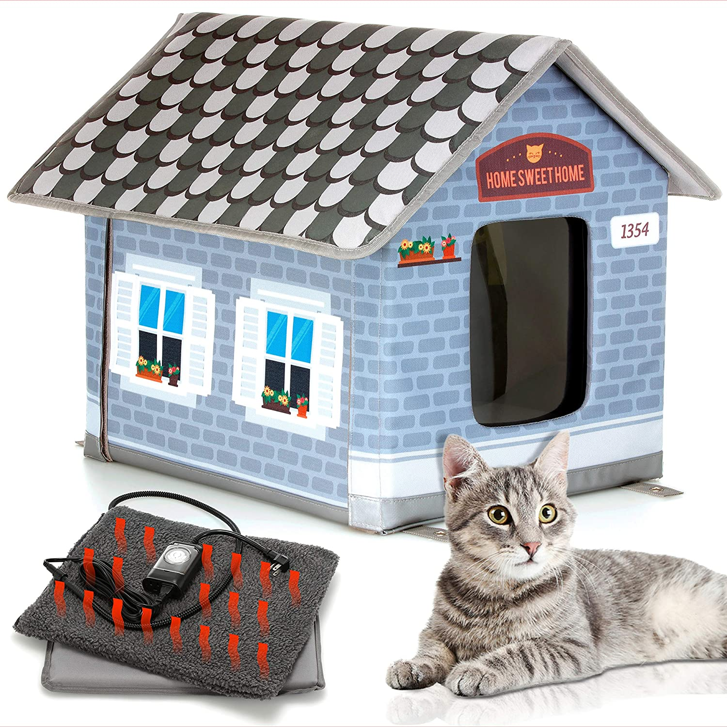 6. PETYELLA Heated Cat House for Outdoor Cats