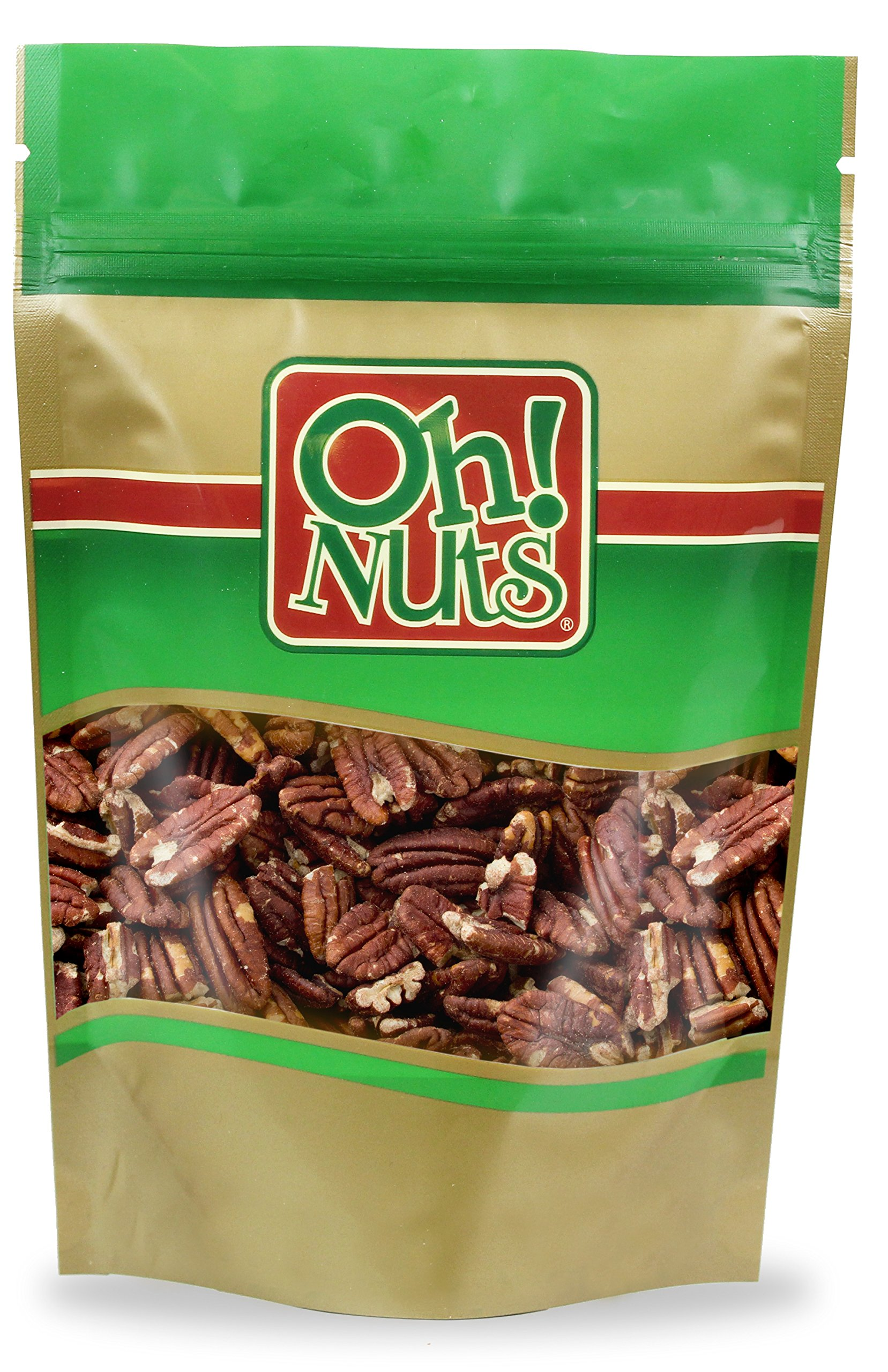 Pecans Dry Roasted Unsalted, Pecans NO OIL, NO SALT - Oh! Nuts (2 LB Pecans Dry Roasted Unsalted)