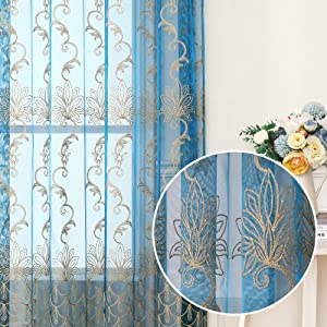 Jiyoyo Embroidered Lace Sheer Curtain for Living Room Bedroom,Rod Pocket Flower Voile Drapes/Panels, (Teal Blue with Silver Threading Embroidery, 50 by 72 Inch,1 Panel)
