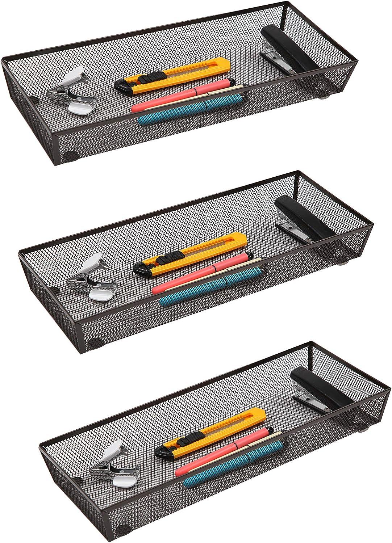 """Finnhomy Mesh Drawer Organizer Shelf Storage Bins School Supply Holder Office Desktop Cabinet Brown 6""""x 15"""" - 3 Pack"""