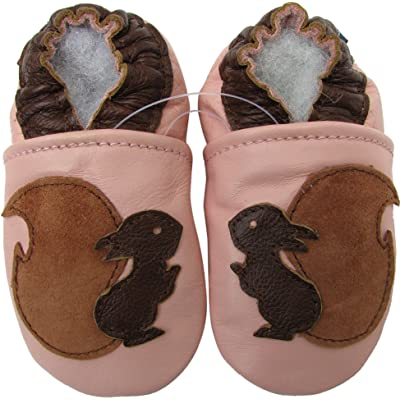 Carozoo baby girl soft sole leather infant toddler kids shoes Squirrel Pink
