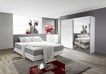 Schlafzimmer Komplett Set Weiss Mit Boxspringbett  160x200cm+Schwebetürenschrank B.136cm