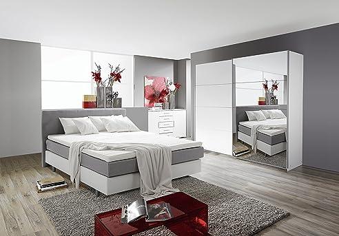 Schlafzimmer Komplett Set Weiss Mit Boxspringbett 180X200Cm+