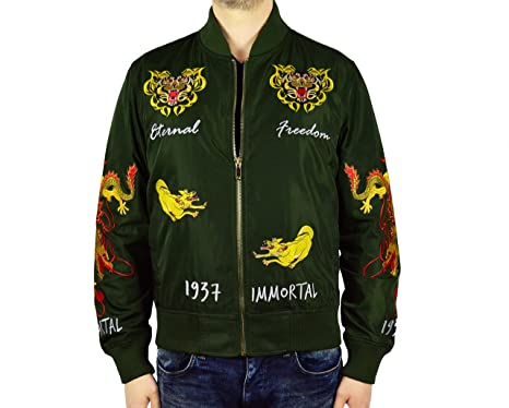 97c572431 PEACE UNLTD. NY Men's Litghtweight Embroidery Bomber Jacket at ...