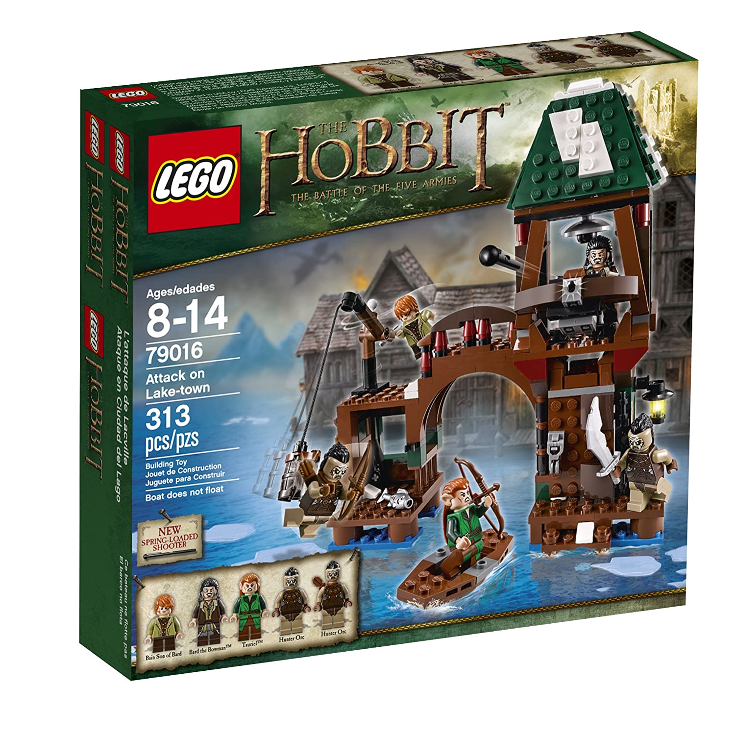 LEGO Hobbit 79016 Attack on Lake-town Includes 5 minifigures with assorted weapons: Bain son of Bard, Bard the Bowman, Tauriel and 2 Hunter Orcs.