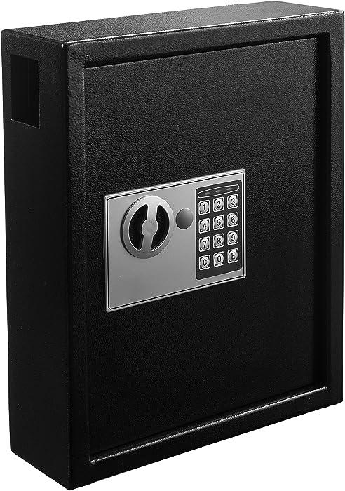 AdirOffice 40 Keys Cabinet with Digital Lock - Electronic Key Safe - Pin Code Keyless Storage Box for Keys - Secure Steel Lock Box - Scratch Resistant Powder Coated - Wall Anchor- Black