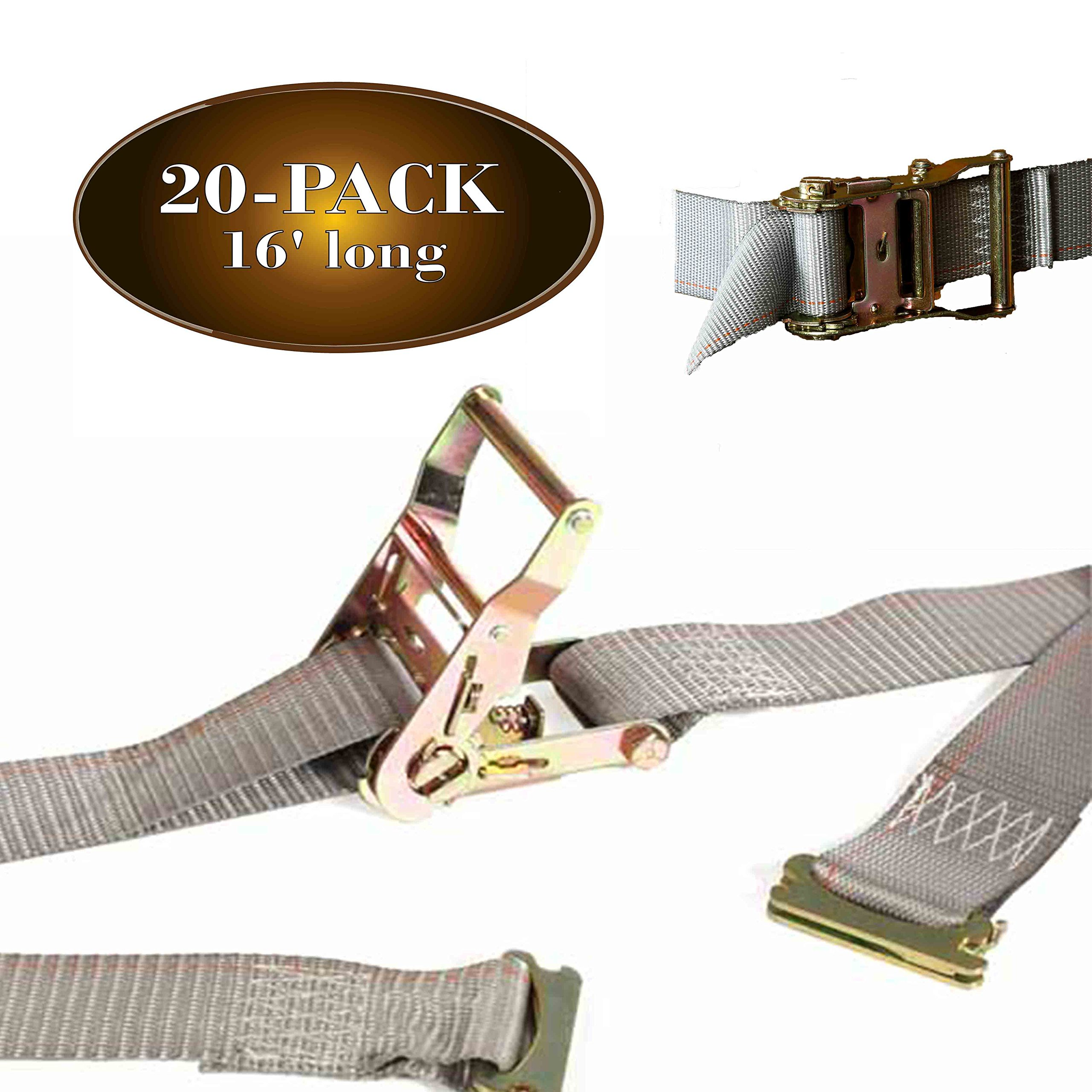 20 E Track Ratchet Tie-Down Cargo Straps, 2'' x 16' Durable Ratcheting Strap Cargo TieDowns, Heavy Duty Grey Polyester Tie-Downs, ETrack Spring Fittings