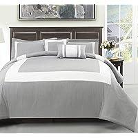 Cozy Beddings S1606-2T Forte Aqua, Green 4Pc Comforter Set Ivory Stripe Bed Cover, Aqua Green, Twin