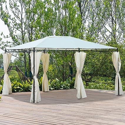 Outsunny Gazebo Pabellón Exterior 4x3x2.55m Cenador con Techo Carpa Glorietas de Jardín con Tela Poliéster Resistente al UV Marco de Hierro con Pared Lateral Color Crema: Amazon.es: Jardín