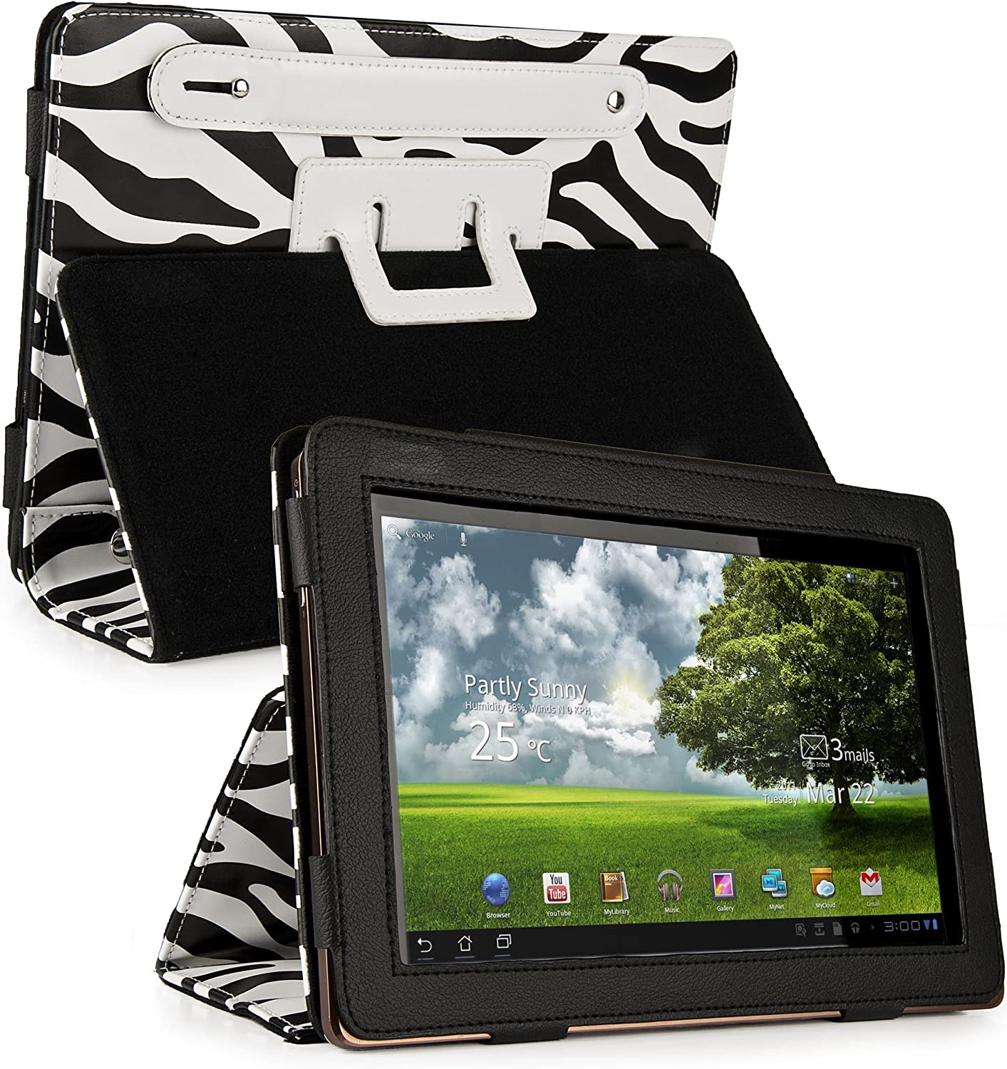 Vangoddy Zebra Animal Print Designer SOHO Smart Cover with Stand and Unique Rear Hand Strap for All Models of the Acer Iconia 10 Inch Tablet Iconia (A200, A500, A510, W500, A500-10S16u, 10.1 inch, A510-10k32u, Titatium Gray)