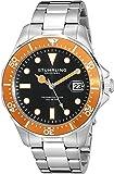 Stuhrling Original Men's 824.04 Aquadiver Date Orange Bezel Stainless Steel Diver Watch